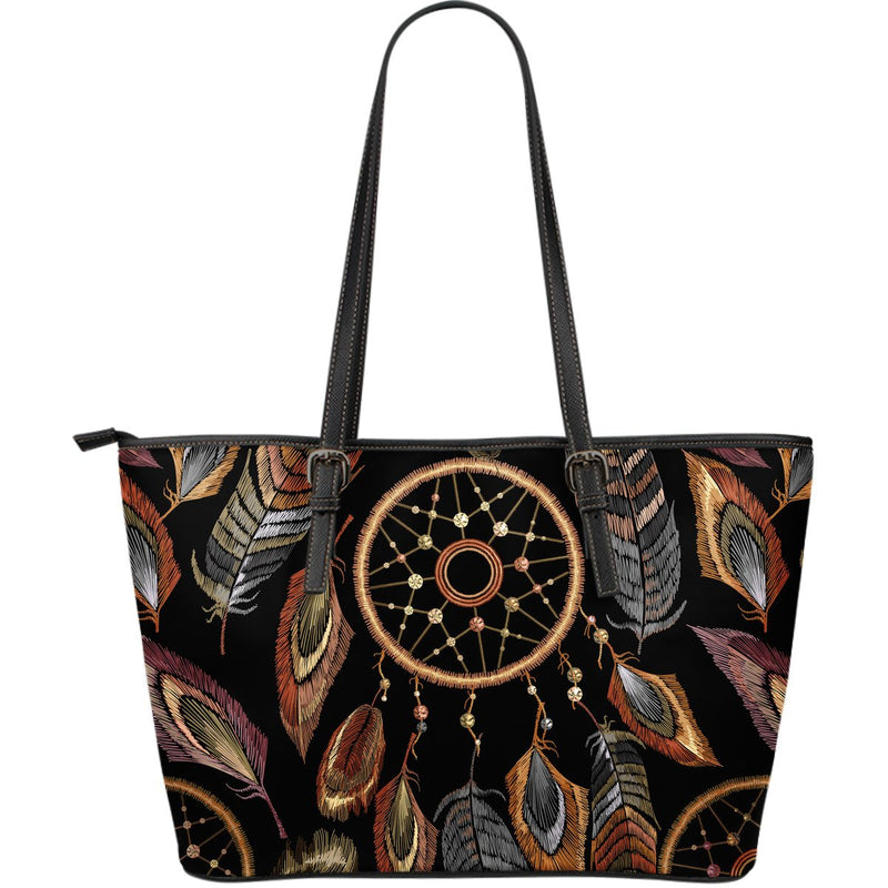 Dream catcher embroidered style Large Leather Tote Bag