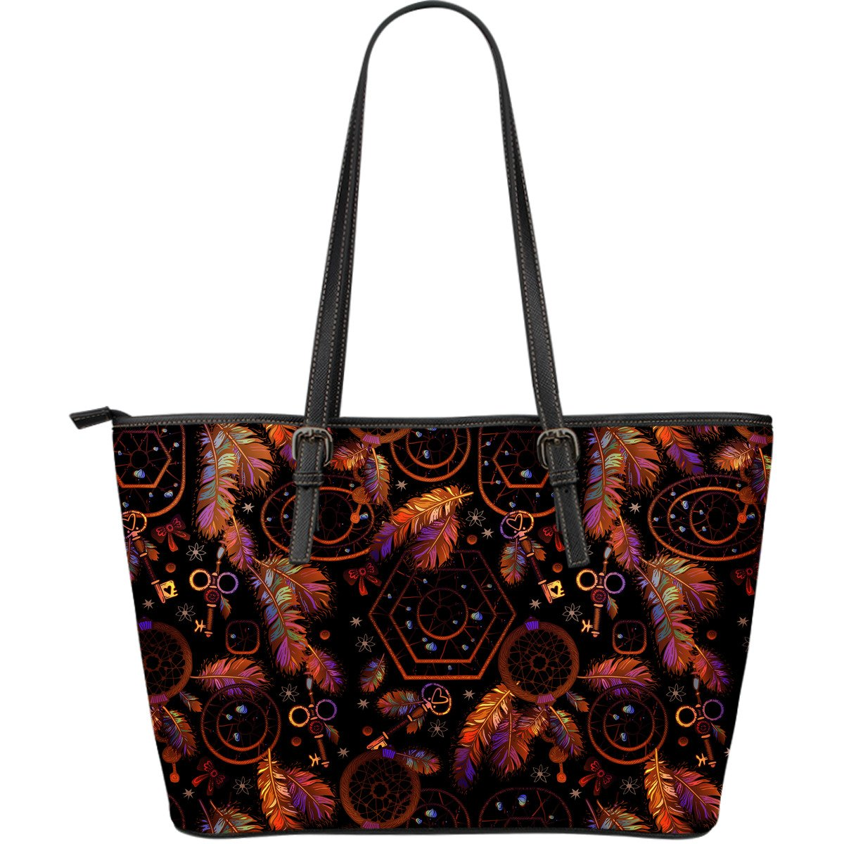 Dream catcher native american Large Leather Tote Bag