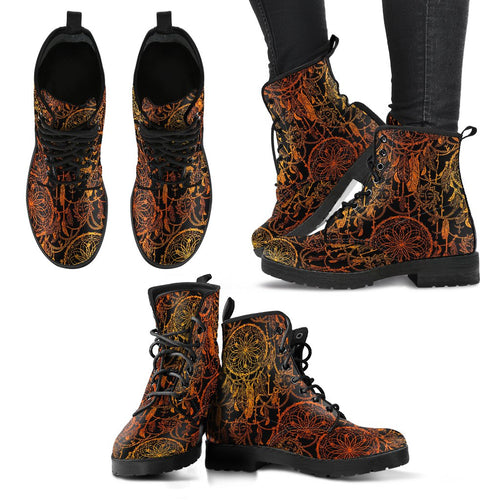Dream Catcher Sun and Moon Women Leather Boots