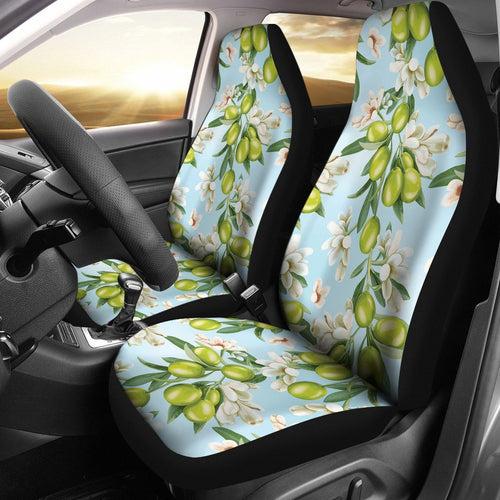 Elegant Olive Floral Print Universal Fit Car Seat Covers