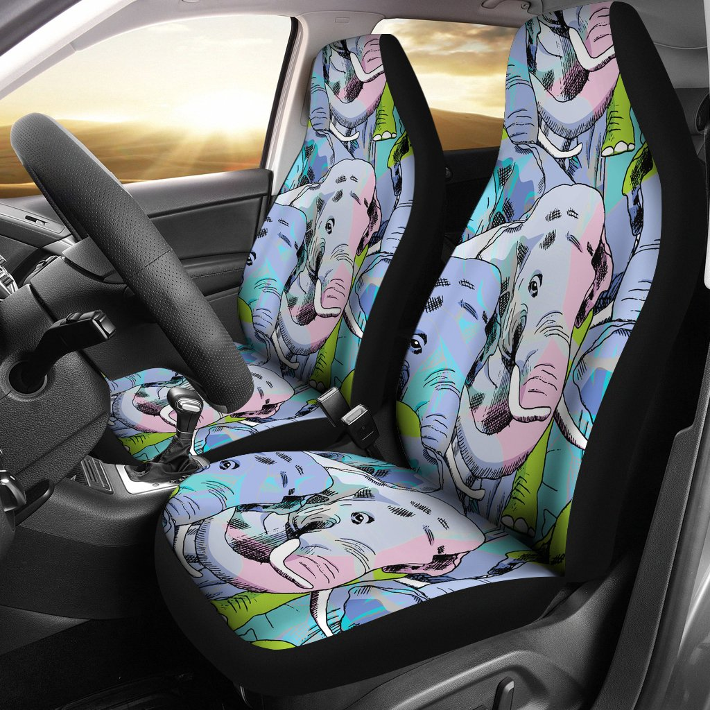Elephant Art color Print Pattern Universal Fit Car Seat Covers