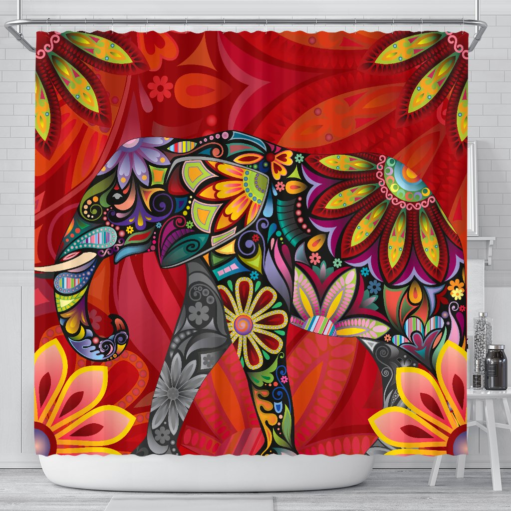 Elephant Colorful Indian Mandala Shower Curtain