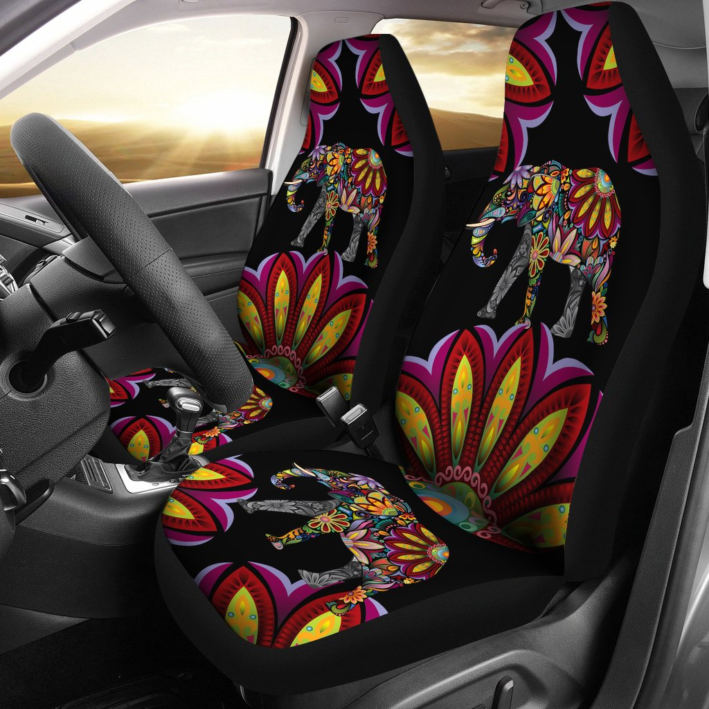 Elephant Colorful Indian Mandala Universal Fit Car Seat Covers