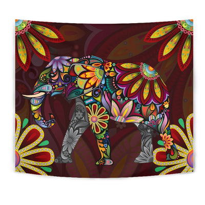 Elephant Colorful Indian Mandala Wall Tapestry