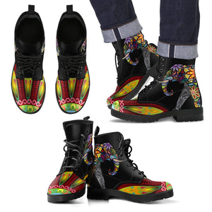 d9b8fa53b607 Elephant Colorful Indian Mandala Women   Men Leather Boots – JorJune