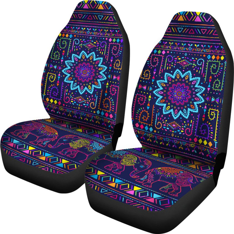 Elephant Colorful Indian Print Universal Fit Car Seat Covers