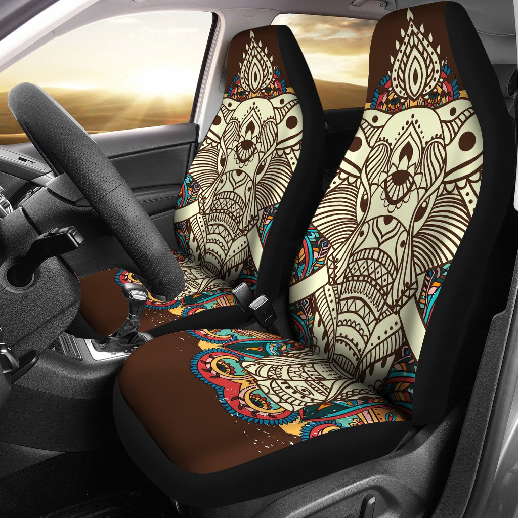 Elephant Colorful Indian Universal Fit Car Seat Covers Jorjune