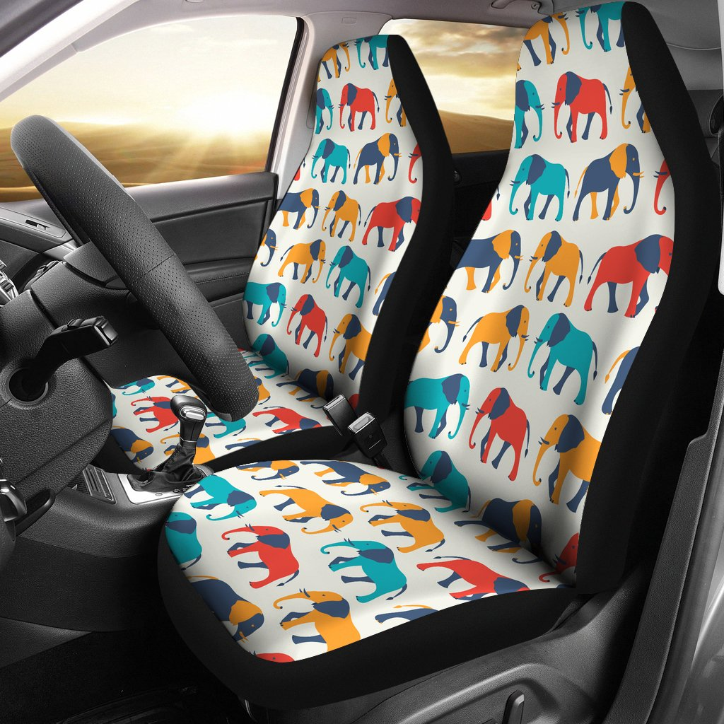 Elephant Colorful Print Pattern Universal Fit Car Seat Covers