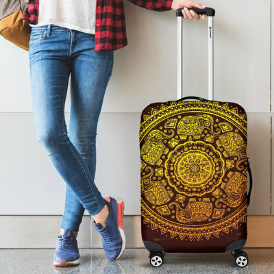 Elephant Gold Mandala Luggage Cover Protector