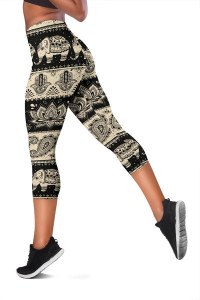 Elephant Hansa Lotus Pattern Women Capris
