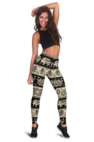Elephant Hansa Lotus Pattern Women Leggings