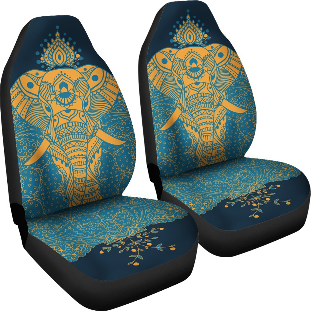Indian Tribal Flower Aztec Tribal Boho Style Auto Bench Sheet Seat Cover for Women Men Hugding African Elephant Universal Car Seat Covers Full Set for Front and Rear