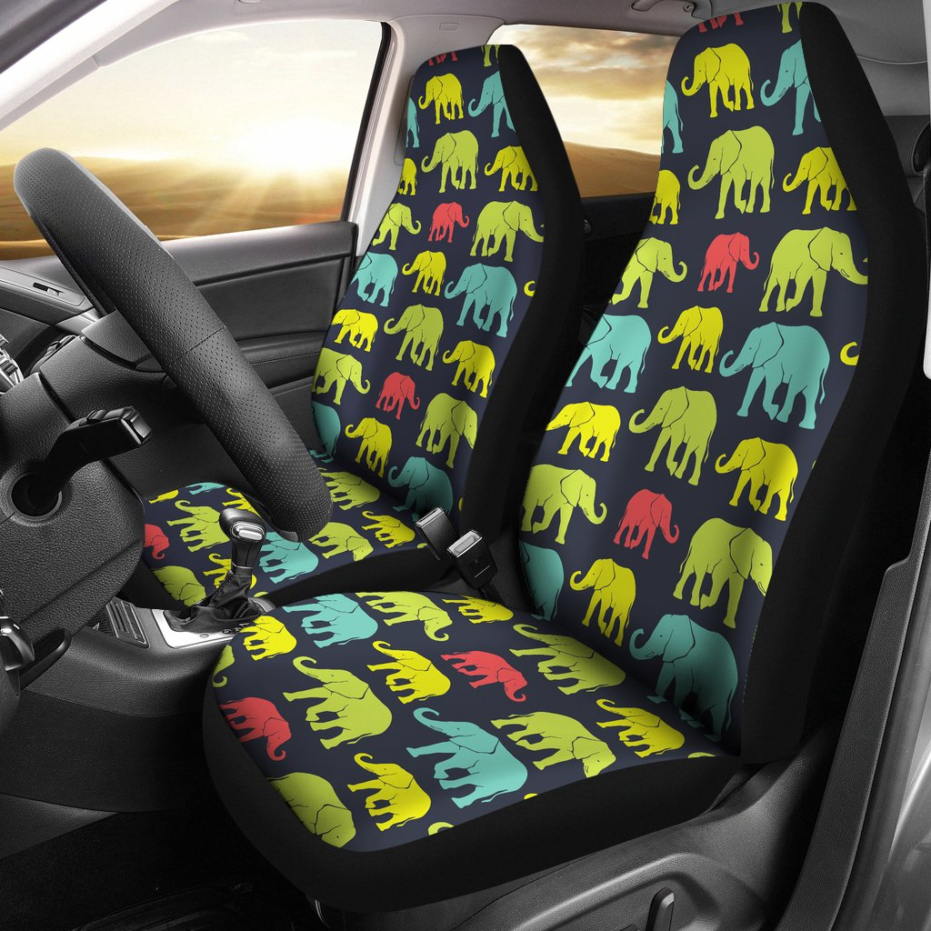 Elephant Neon Color Print Pattern Universal Fit Car Seat Covers