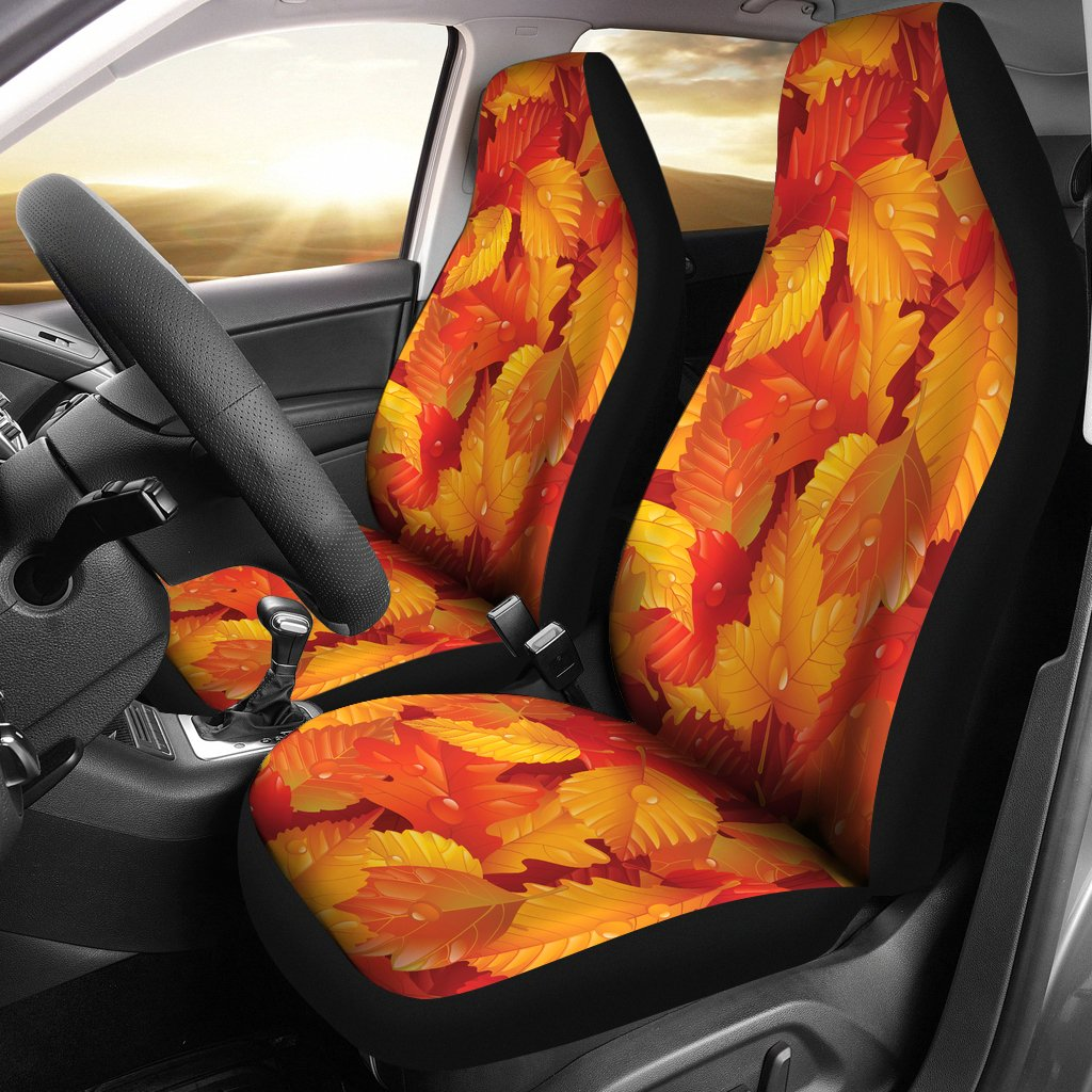 Elm Leave Autum Print Pattern Universal Fit Car Seat Covers