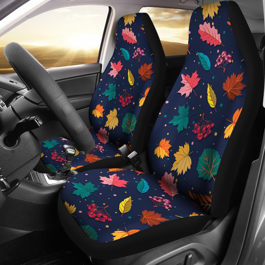 Elm Leave Colorful Print Pattern Universal Fit Car Seat Covers