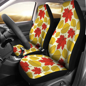 Elm Maple Leave Print Pattern Universal Fit Car Seat Covers