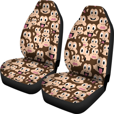 Emoji Monkey Print Pattern Universal Fit Car Seat Covers