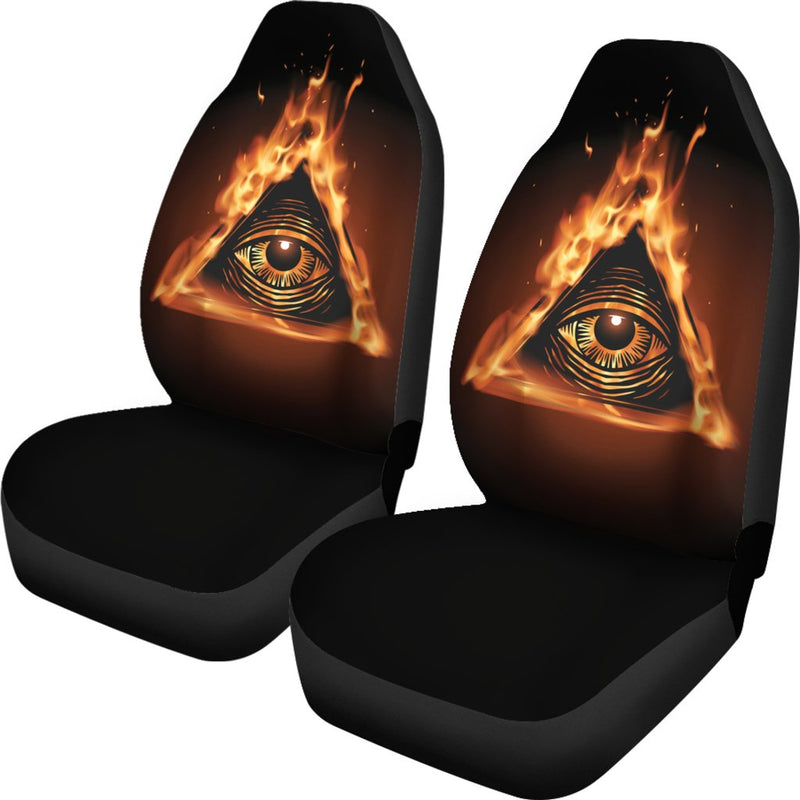 Eye of Horus in Flame Print Universal Fit Car Seat Covers