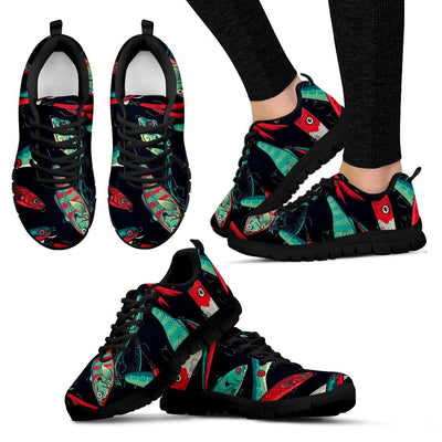 Fishing Bait Pattern Women Sneakers