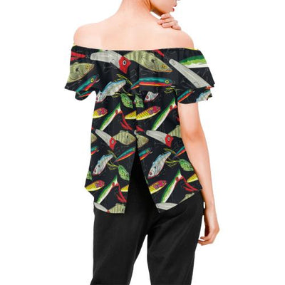 Fishing Bait Print Off Shoulder Ruffle Blouse