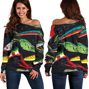 Fishing Bait Print Off Shoulder Sweatshirt