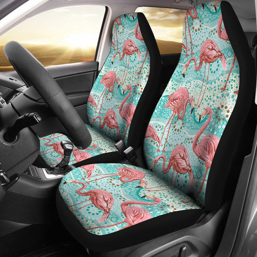 Flamingo Background Themed Print Universal Fit Car Seat Covers