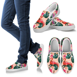 Flamingo Tropical Hibiscus Pattern Men Canvas Slip On Shoes