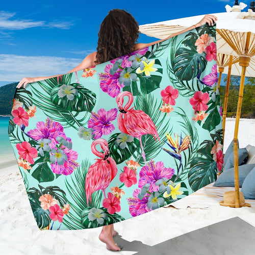 Flamingo Tropical Hibiscus Pattern Beach Sarong Pareo Wrap
