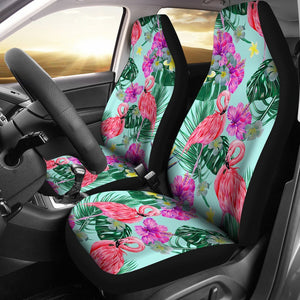 Flamingo Tropical Hibiscus Pattern Universal Fit Car Seat Covers
