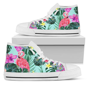 Flamingo Tropical Hibiscus Pattern Women High Top Canvas Shoes