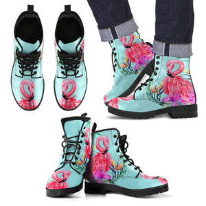 Flamingo Tropical Hibiscus Pattern Women & Men Leather Boots