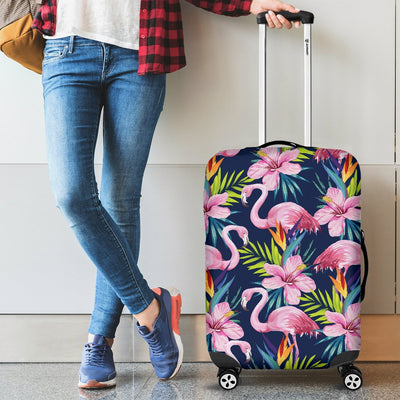 Flamingo Hibiscus Print Luggage Cover Protector