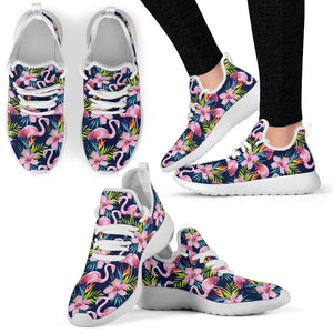 Flamingo Hibiscus Print Mesh Knit Sneakers Shoes