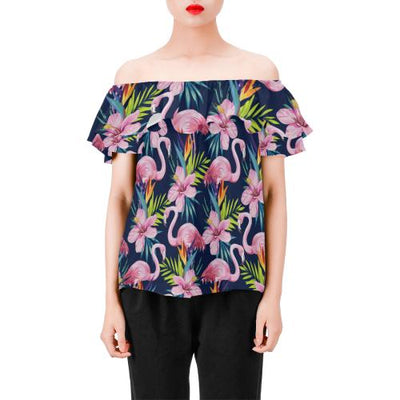 Flamingo Hibiscus Print Off Shoulder Ruffle Blouse