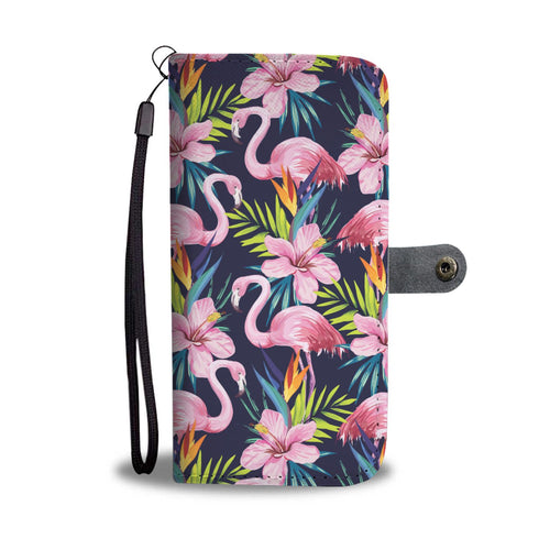 Flamingo Hibiscus Print Wallet Phone Case