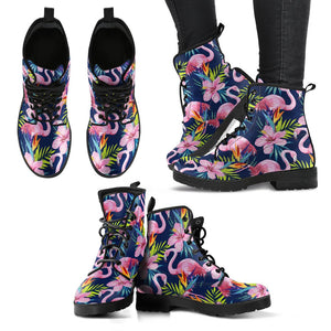 2a5fe33336f18 Flamingo Hibiscus Print Women Leather Boots – JorJune