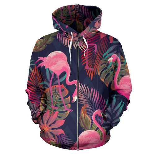 Flamingo Tropical Pattern All Over Zip Up Hoodie