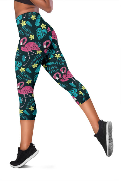 Flamingo Print Pattern Women Capris