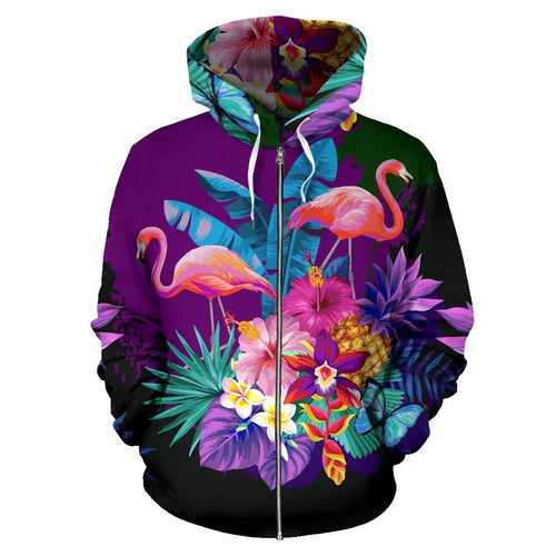 Flamingo Tropical Flower All Over Zip Up Hoodie