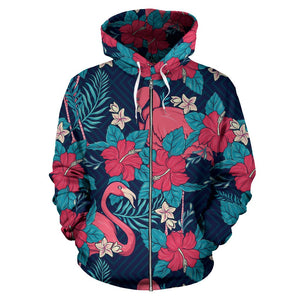 Flamingo Red Hibiscus Pattern All Over Zip Up Hoodie