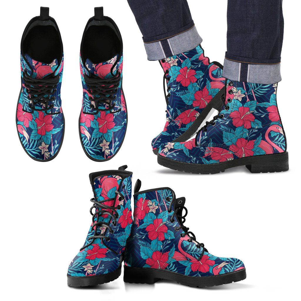 Flamingo Red Hibiscus Pattern Men Leather Boots