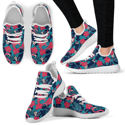 Flamingo Red Hibiscus Pattern Mesh Knit Sneakers Shoes