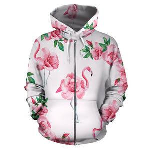 Flamingo Rose Pattern All Over Zip Up Hoodie