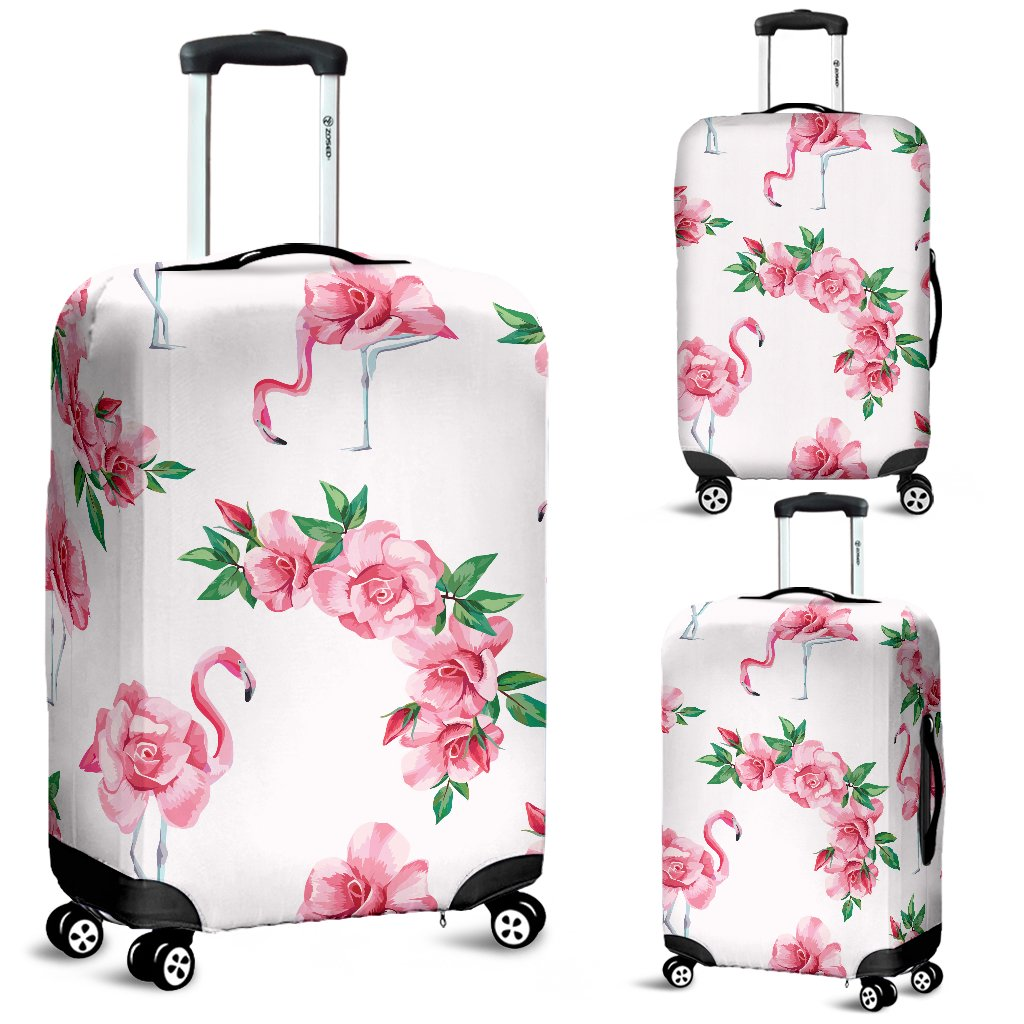 Flamingo Rose Pattern Luggage Cover Protector