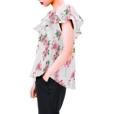 Flamingo Rose Pattern Off Shoulder Ruffle Blouse