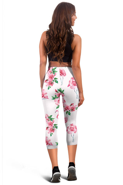 Flamingo Rose Pattern Women Capris