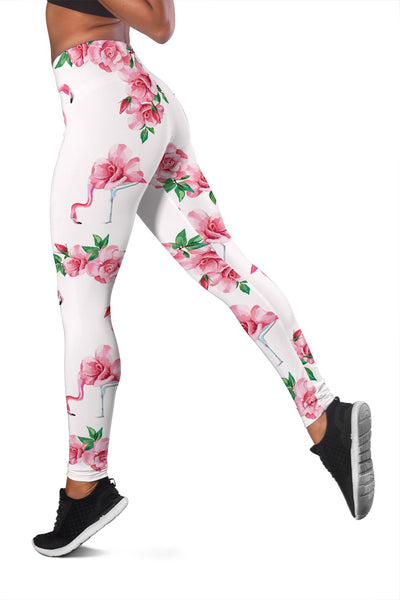 Flamingo Rose Pattern Women Leggings