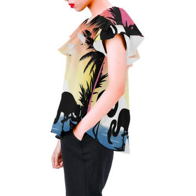 Flamingo Situate sense Off Shoulder Ruffle Blouse