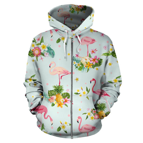 Flamingo Tropical Flower Pattern All Over Zip Up Hoodie