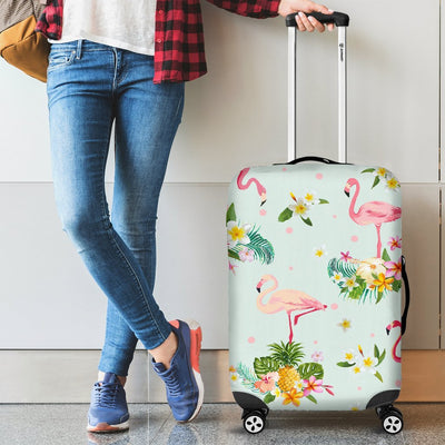 Flamingo Tropical Flower Pattern Luggage Cover Protector